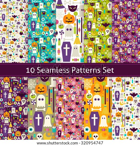 Ten Seamless Halloween Party Patterns Set. Flat Style Vector Seamless Texture Backgrounds. Collection of Halloween Holiday Templates. Trick or Treat - stock vector