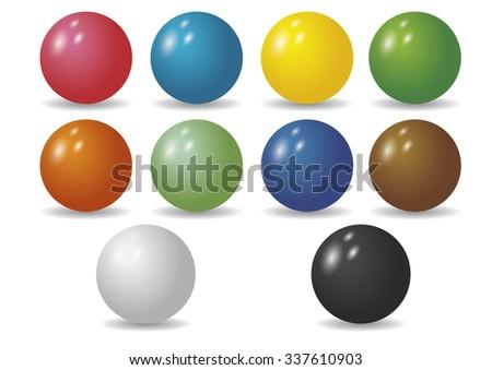 Ten shiny balls in diverse colors. Sphere. Ball. Circle. - stock vector