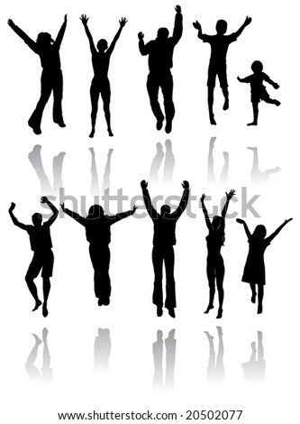 Ten silhouettes of people jumping for joy with reflections below - stock vector