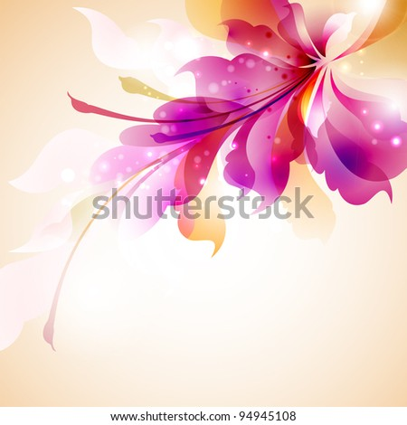 Tender background with abstract flower - stock vector