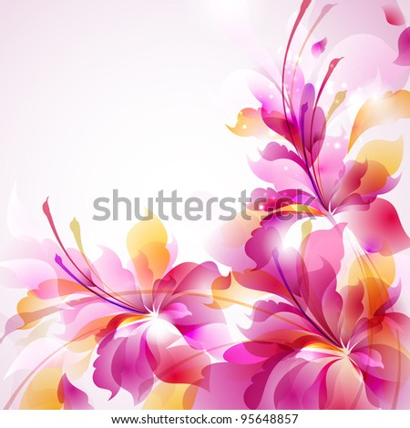 Tender background with three abstract flower - stock vector