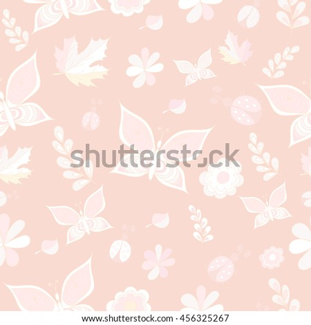 Tender pink and white vector seamless, patterns. Repeating texture. EPS 10 - stock vector