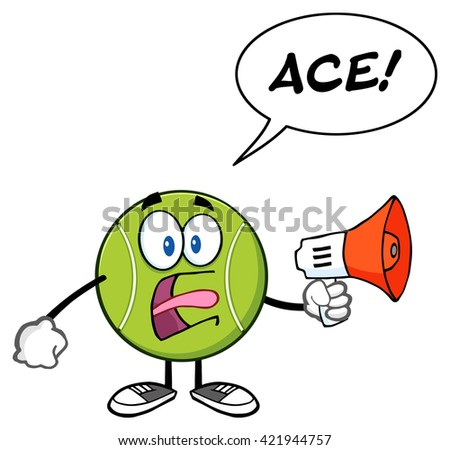 Tennis Ball Cartoon Mascot Character An Announcement Into A Megaphone With Speech Bubble And Text Ace. Vector Illustration Isolated On White - stock vector