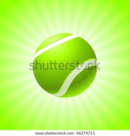 Tennis Ball on Green Background Original Vector Illustration - stock vector