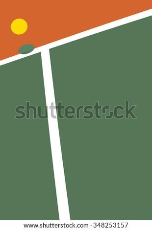 Tennis court ball point - stock vector