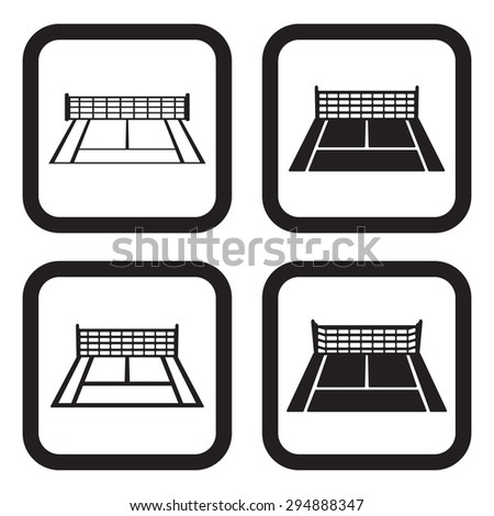 Tennis court icon four variations - stock vector