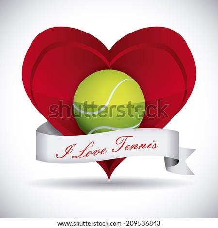 tennis design over gray background vector illustration - stock vector