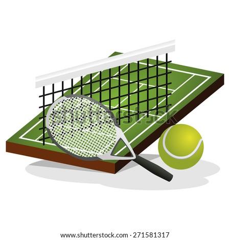 Tennis Field and Ball Vector Illustration - stock vector