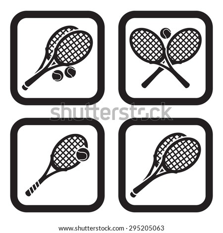 Tennis icon in four variations - stock vector
