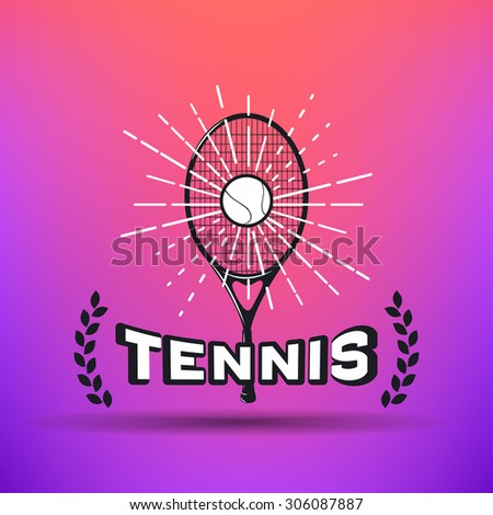 Tennis Label. Black and white vintage logo on colour background - stock vector