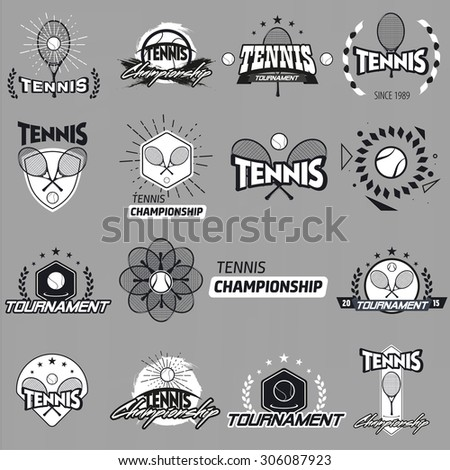 Tennis Labels set. Black and white vintage logo on colour background - stock vector