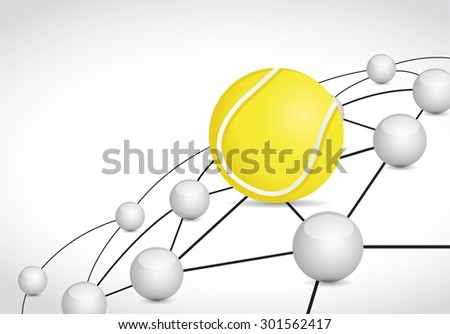 tennis link sphere network connection concept illustration design graphic background - stock vector