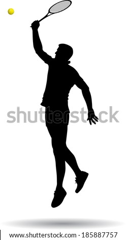 tennis player in the jump spiked the ball vector silhouette - stock vector