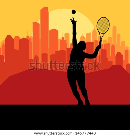 Tennis player silhouette and city in sunset vector background - stock vector