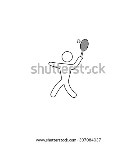 Tennis player, silhouette. Outline black simple vector pictogram - stock vector