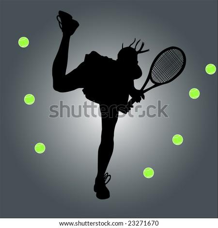 tennis player - vector - stock vector