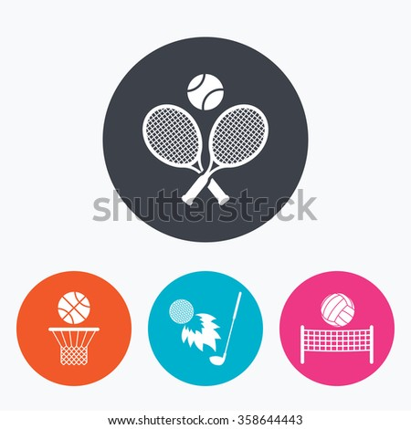 Tennis rackets with ball. Basketball basket. Volleyball net with ball. Golf fireball sign. Sport icons. Circle flat buttons with icon. - stock vector