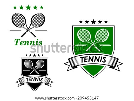Tennis sporting emblem with rackets, ball and decorative elements isolated on white suitable for sports or logo design  - stock vector