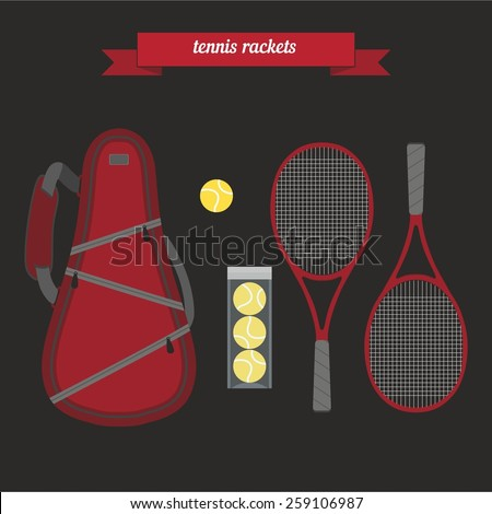 Tennis sports bag with the racket and tennis ball.. Flat style design - vector - stock vector