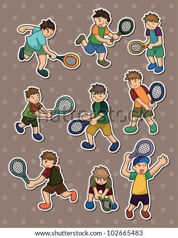 tennis stickers - stock vector
