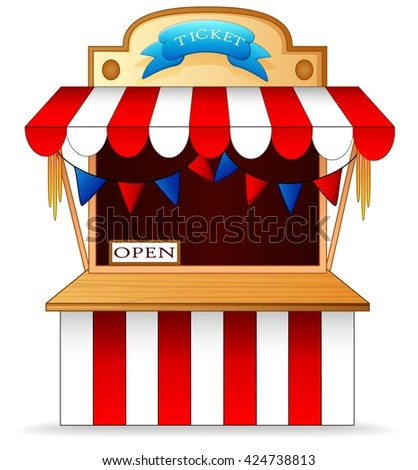 tent festival ticket seller - stock vector