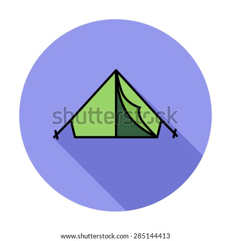 Tent. Single flat color icon on the circle. Vector illustration. - stock vector