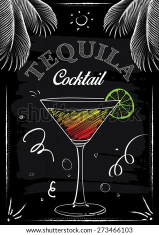 Tequila Cocktail Chalkboard Vector Poster - stock vector