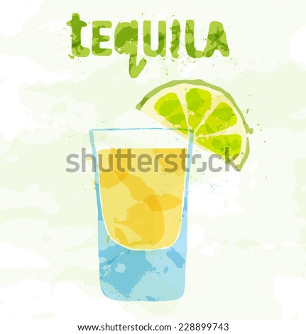 Tequila cocktail with a slice of lime - stock vector