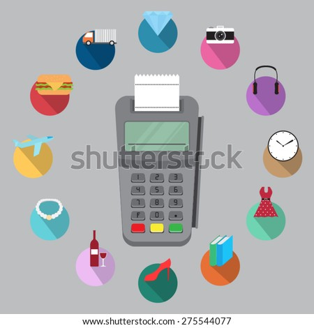 terminal with credit card - stock vector