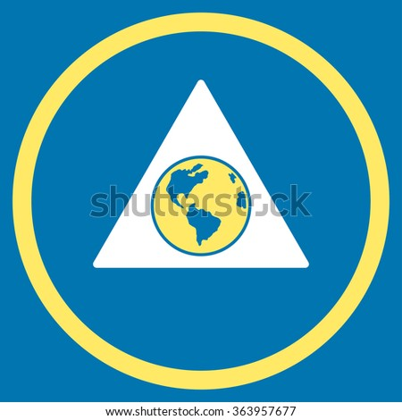 Terra Triangle vector icon. Style is bicolor flat circled symbol, yellow and white colors, rounded angles, blue background. - stock vector