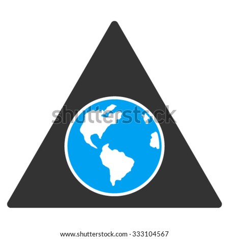 Terra Triangle vector icon. Style is bicolor flat symbol, blue and gray colors, rounded angles, white background. - stock vector