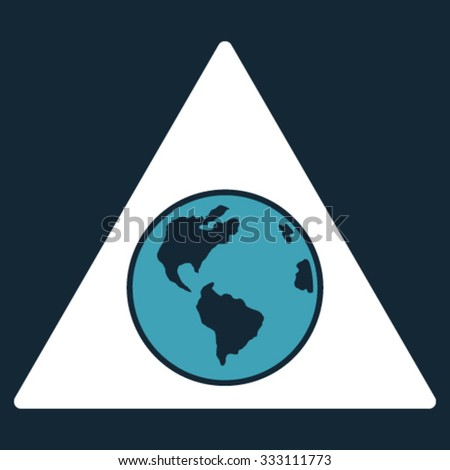 Terra Triangle vector icon. Style is bicolor flat symbol, blue and white colors, rounded angles, dark blue background. - stock vector