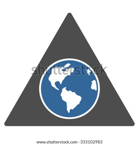 Terra Triangle vector icon. Style is bicolor flat symbol, cobalt and gray colors, rounded angles, white background. - stock vector