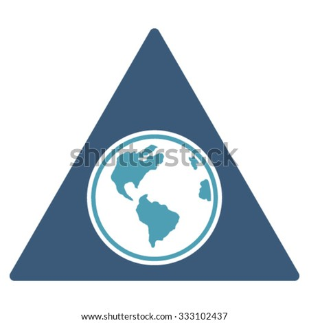 Terra Triangle vector icon. Style is bicolor flat symbol, cyan and blue colors, rounded angles, white background. - stock vector