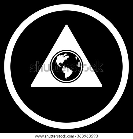 Terra Triangle vector icon. Style is flat circled symbol, white color, rounded angles, black background. - stock vector