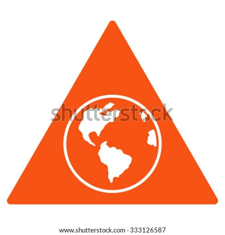 Terra Triangle vector icon. Style is flat symbol, orange color, rounded angles, white background. - stock vector
