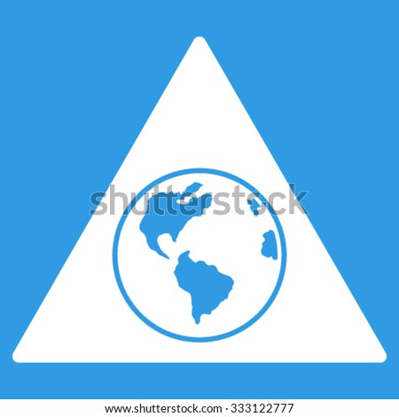 Terra Triangle vector icon. Style is flat symbol, white color, rounded angles, blue background. - stock vector