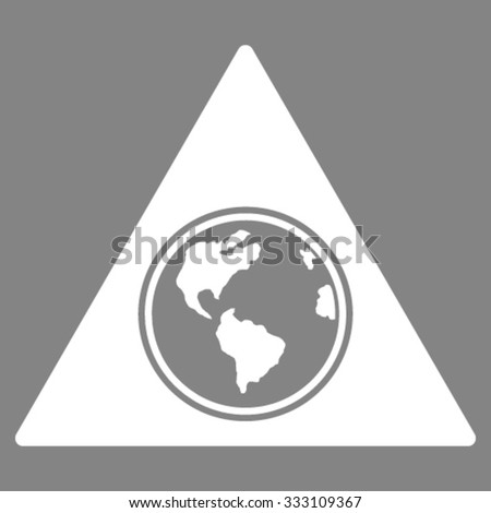 Terra Triangle vector icon. Style is flat symbol, white color, rounded angles, gray background. - stock vector