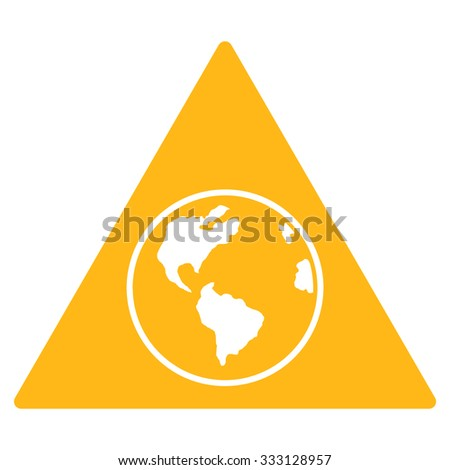 Terra Triangle vector icon. Style is flat symbol, yellow color, rounded angles, white background. - stock vector