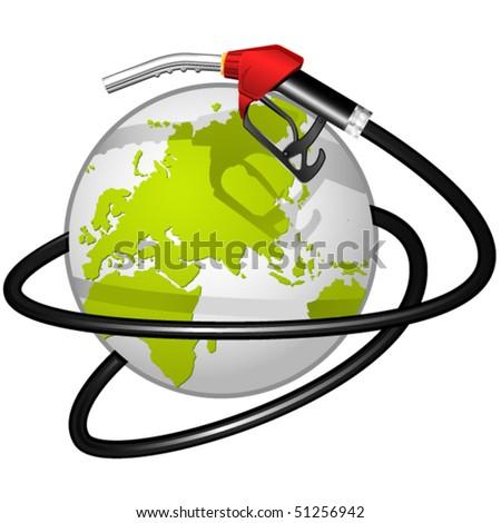 Terrestrial globe obvoluted Fuel hose - stock vector
