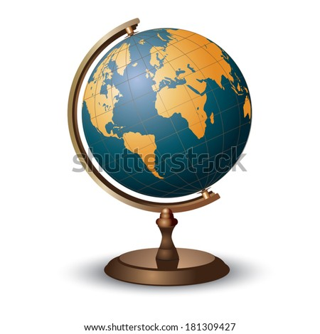 Terrestrial globe on white background. Vector illustration - stock vector