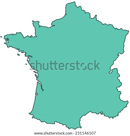 Terrestrial silhouette map of the France  - stock vector