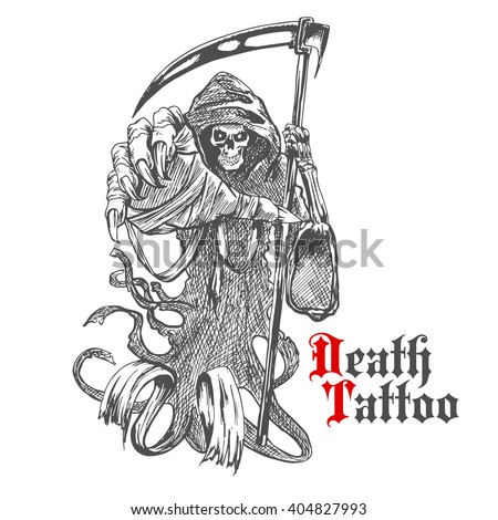 Terrible grim reaper or death with scythe character. Sketch of spooky skeleton wearing long hooded cape with reaper in bony hand. For tattoo, t-shirt print or Halloween design usage - stock vector