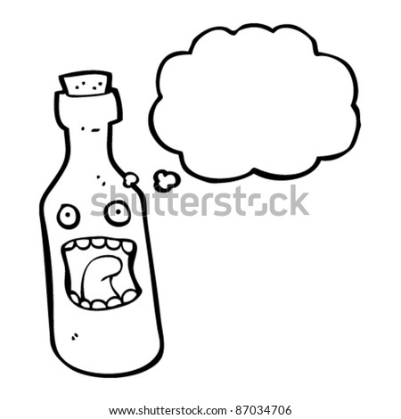terrified bottle cartoon - stock vector
