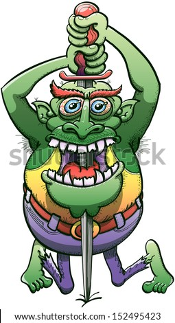 Terrifying big green elf monster sinking a sword vertically from the top of his head until his chin through his mouth wide open while staring at you, kneels down and expressing disturbing horror - stock vector