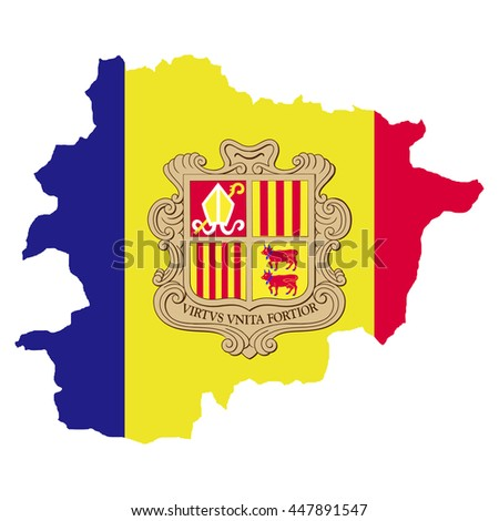 Territory and flag of Andorra - stock vector