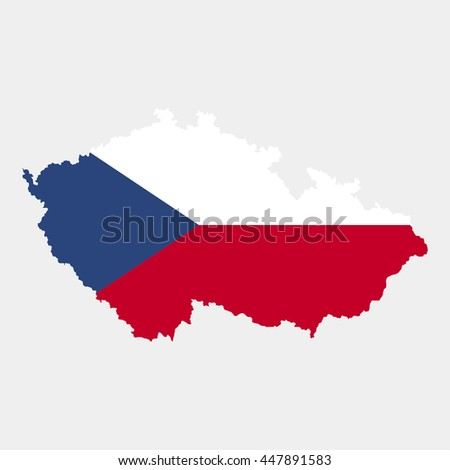 Territory and flag of Czech Republic - stock vector