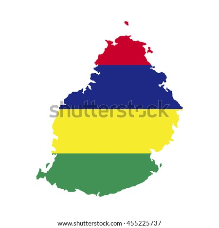 Territory and flag of Mauritius - stock vector