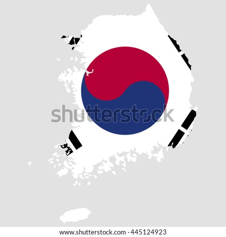 Territory and flag of South Korea - stock vector
