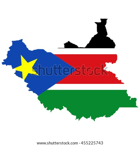 Territory and flag of South Sudan - stock vector